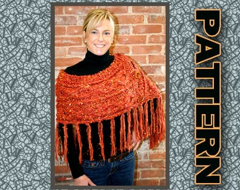 Wrap Shawl Quick Easy Knit PDF pattern with basic cables buttons fringe