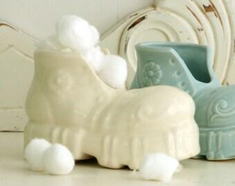 Vintage Ceramic Shoe - Boot Planter - White Shoe - Baby Decor