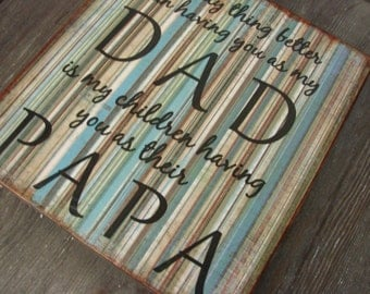 Distressed Wood Sign DAD PAPA Quote Wall Plaque Decor - blue & brown  stipes - Fathers Day