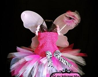 Pink Zebra Fairy Tutu Dress Set - newborn tutu, baby tutu, dress up tutu, pageant tutu, flower girl tutu, 1st birthday tutu, princess tutu