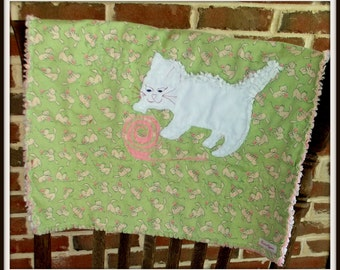 "Baby Girl Mini Quilt, ""White Kitten"""