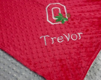 Personalized Ohio State Football Minky Baby Blanket