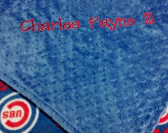 Personalized Chicago Cubs Baseball Fleece and Minky Baby Blanket.  Pillow, bib and burp rag also available.