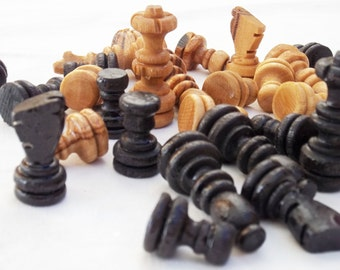 Olive wood hand carved chess pieces, wooden rustic natural black chess board small pieces, birthday gift