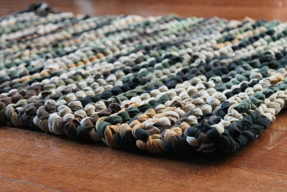 T Shirt Rag Rug Rustic Camo Military Brown By Handiworkingirls