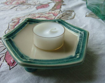 Small, Hexagon Plate - Aqua Blue - Butter Pats
