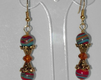 Multi color turquoise  earrings  (#364)