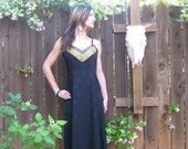 Vintage 1980s Goddess Maxi Dress with Bamboo leaves Color Block