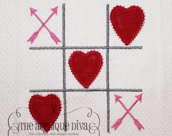 Valentine's Day Tic Tac Love  Digital Embroidery Design Machine Applique
