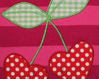 Valentine's Day Heart Cherries  Digital Embroidery Design Machine Applique
