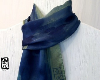 Mens Silk Scarf Green, Hand painted Zen Bamboo Olive Green Silk Scarf. Navy Blue Bamboo. Silk Satin Scarf.  Approx 11x59 in