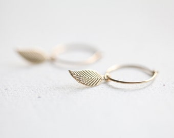 Tiny Gold Leaf Hoop Earrings - 14k gold filled dangle leaf earrings, simple everyday jewelry by petitor etsy