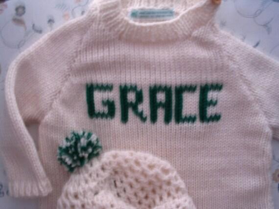 Irish Style 6, 9, 12 mos Baby Handknit Sweater Set withTam