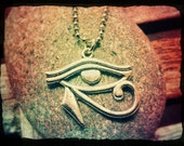 Buy 2 or more get 15% off -- Antique Silver Eye Of Horus Egyptian Pendant Charm Ball Chain Necklace