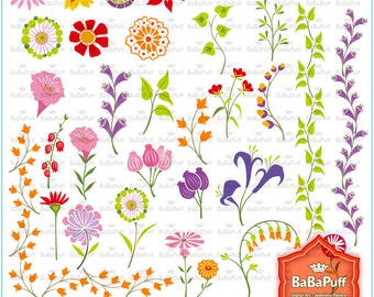 Instant Downloads, Digital Flower and Leaf Clip Art. For Your Handmade Crafts Projects. Personal and Small Commercial Use --- BP 0730