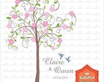 Instant Downloads, Pink Blossom Tree & Hummingbirds Clipart, For Wedding Invitations Card Making, Personal and Small Commercial Use. BP 0465