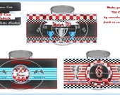 Race Car Party, Vintage Race Car Party - Printable Customized Make your own OIL CAN LABELS - Bella Bella Studios