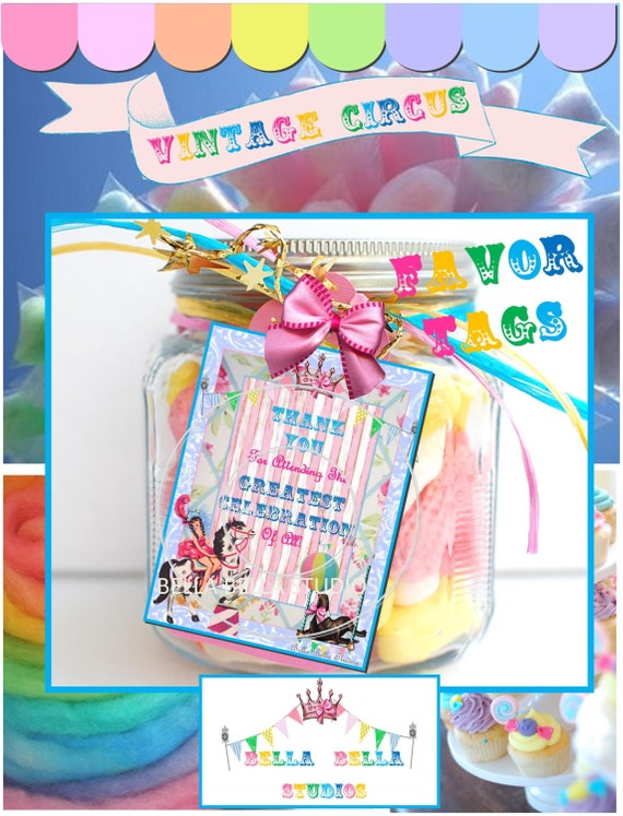 Vintage CIRCUS Birthday Party Girl and Horse Instant Download Printable FAVOR TAGS by Bella Bella Studios