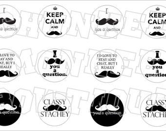Mustache Sayings bottlecap image sheet
