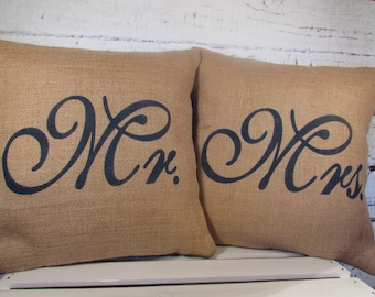 Burlap Mr and Mrs pillows handpainted in color of your choice
