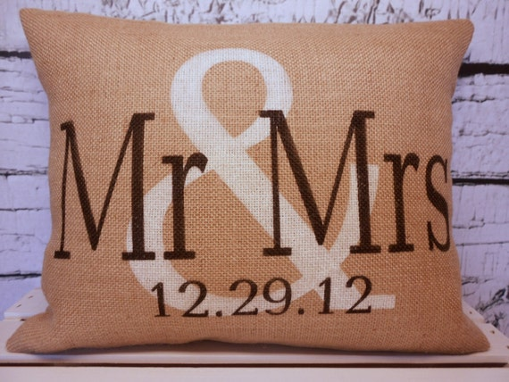 Mr & Mrs burlap personalized pillow cover in vintage white and black - Pillow Insert Sold Separately