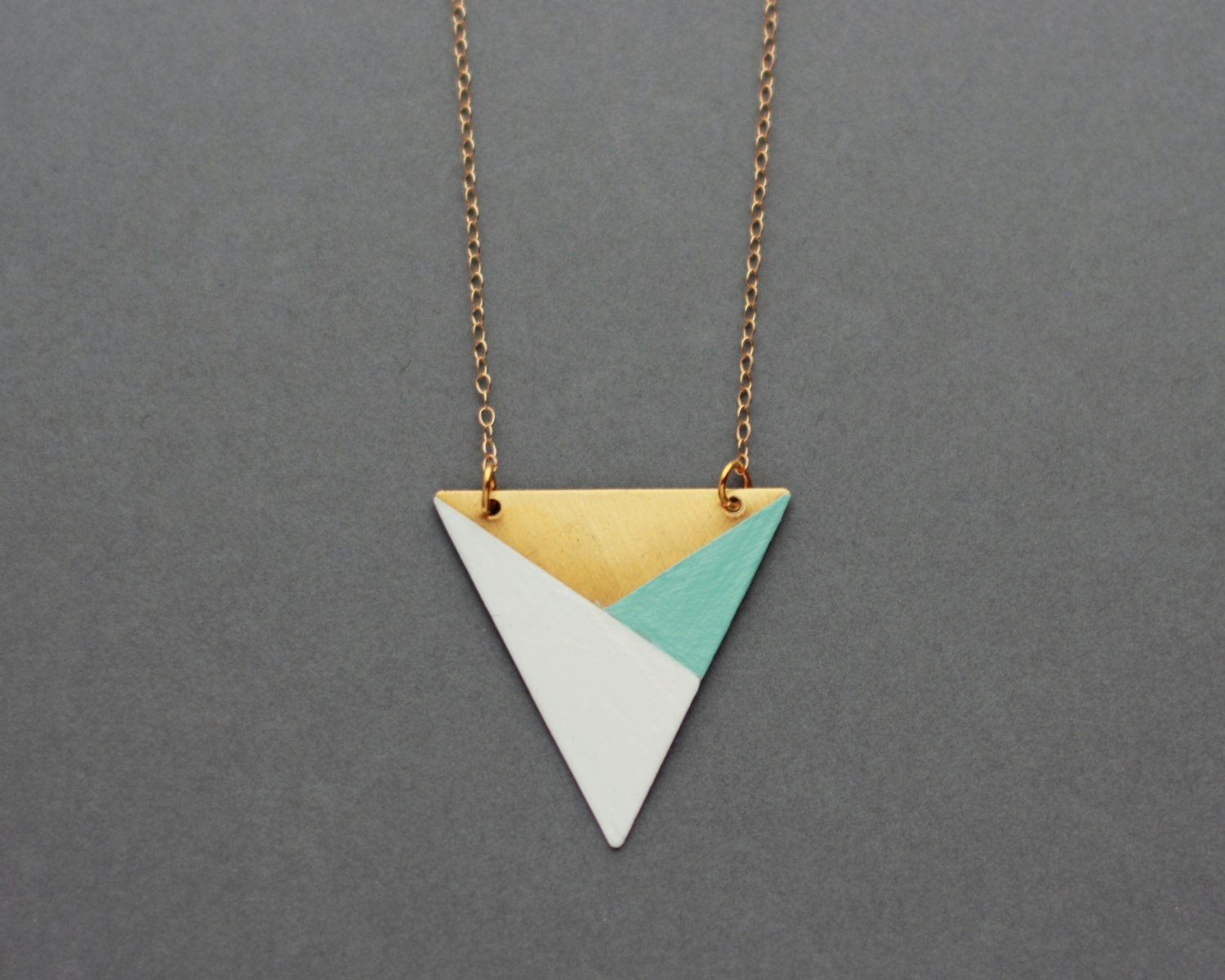 Metal Triangle Necklace Blue White Bronze Modern By