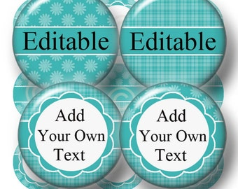 Editable Bottle Cap Images, Digital Collage Sheet, 1 Inch Circles, Instant Download, Blue-Green (No.4) Add Your own Words Or Names