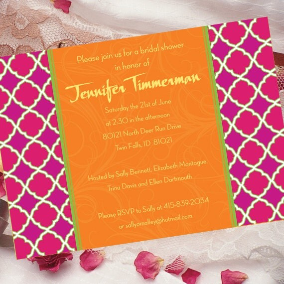 bridal shower invitations, 16th birthday party, tangerine and fuchsia party invitation, hot pink and orange bridal shower invitations, IN189