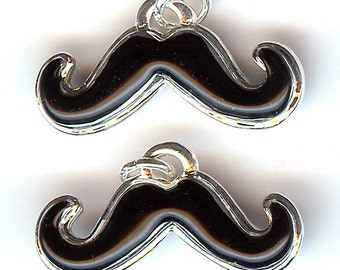 BLACK MUSTACHE Charm. Silver Plated Enamel. Two Sided. Moustach. Moustache. Facial Hair.