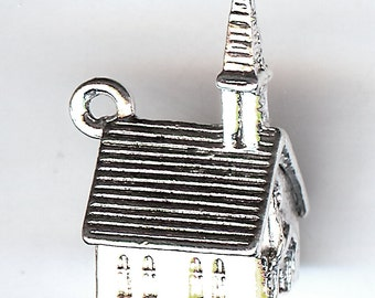 WEDDING CHAPEL Charm. Sterling Silver Plated. 3D. Steeple. Made in the USA.