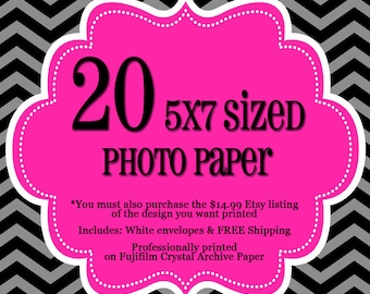 20 Professionally Printed 5x7's - 1 sided Photo Cards - FREE Shipping