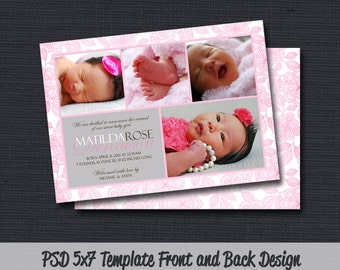 INSTANT DOWNLOAD - Birth Announcement Template (Girl BA 09) Photographer Template