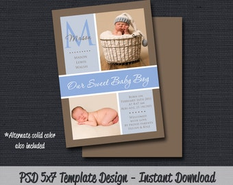 INSTANT DOWNLOAD - Birth Announcement Template (Boy BA 04) Photographer Template