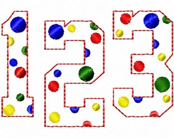 "College - Triple Bean - Dots - NUMBERS - Machine Embroidery Font - Sizes 2"",3"",4"""