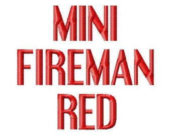 Mini Fireman Red - .5in. (half inch) - Machine Embroidery Font - BUY 2 get 1 FREE - Mini Fonts