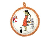 Wall art for girls. Chic Lady - Fabric Picture in a Crochet frame - Peach cotton yarn
