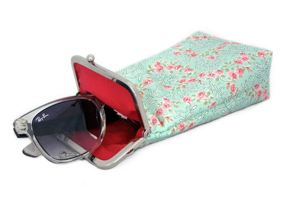 Sunglasses Case  - Pastel colors - Aqua with Red and Pink Flowers 100% cotton  - Silver Frame