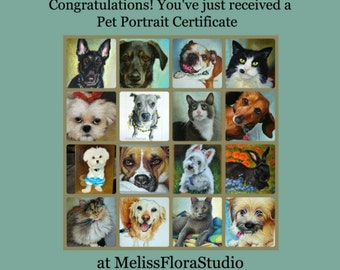 "Gift Certificate for a Custom Pet Portrait Miniature, Color Pencil Drawing - 4"" x 6"""