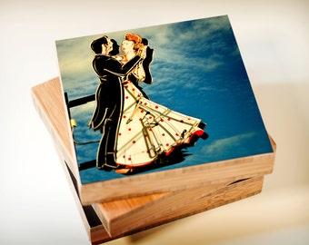 Bamboo Blocks, neon, sign, vintage, mid century, ballroom, wall art, woman, couple, dancing, print, photography, love, valentine, heart