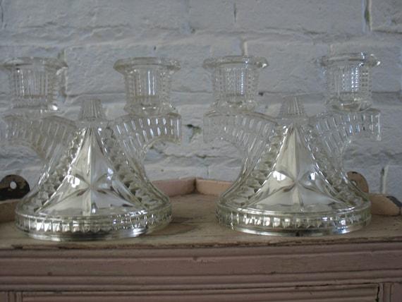 Vintage Glass Art Deco Candle Holder: Vintage Glass Candle Holders Art Deco Style By