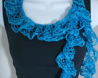 Ruffle scarf handmade crochet lace and soft BLUE silver shiny scarf for spring and summer