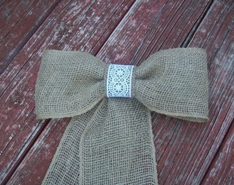 Burlap and Lace Pew Bow, Cottage Chic, Country Wedding Decor, Rustic Pew Bow, Burlap Wedding Decor