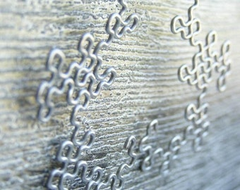 Fractal Earrings - Dragon Curves in Antiqued Silver