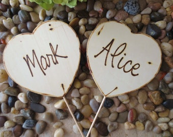 Photo Props for Engagement or Wedding Props Wood Hearts with your Names Personalized hearts for Photo shoot