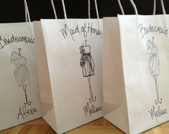 SET of 3 Personalized Bridesmaid Favor Bags with THEIR dress Replicated on the Shopping Bag for Maid of Honor Bridesmaid Flower Girl Gifts
