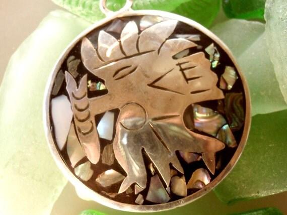 ALPACA SILVER 2 Sided Pendant, Mother of Pearl & Abalone Shell, Alpaca Silver Jewelry, Alpaca Pendant, Souvenier Alpaca Silver Pendant