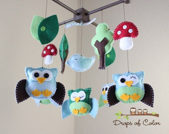 "Baby Mobile - Nursery Owl Mobile - Owl and Bird Mobile - ""Five Owls in the Enchanted Forest"" (You can pick your colors)"
