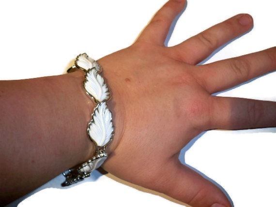 RESERVED - Vintage Bracelet -  Rare, Unique, White Cab Leaf or Petals Placed in Silver - Lovely Retro Flow