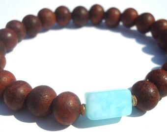 blue peruvian opal & rosewood mala
