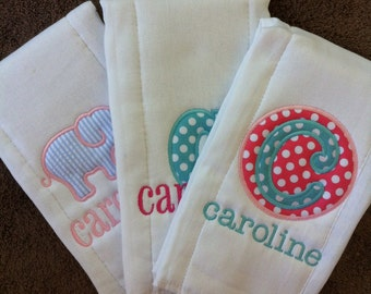 Set of 3 Personalized Burp Cloths - Diaper Cloths - Baby Girl - Monogrammed - Gift Set - Elephant